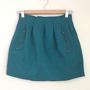 Zara Woman Teal Green Mini Skirt Size Small